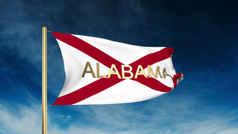 Alabama flag slider style with title. Waving in the wind with cloud background a Animation