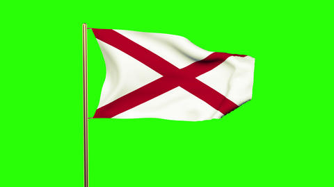 Alabama flag waving in the wind. Green screen, alpha matte. Loopable animation Animation