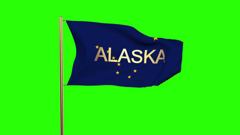 Alaska flag with title waving in the wind. Looping sun rises style. Animation lo Animation