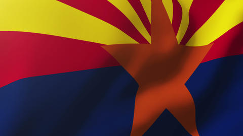 Arizona flag waving in the wind. Looping sun rises style. Animation loop Animation