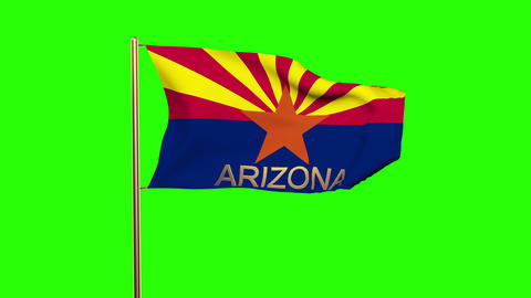 Arizona flag with title waving in the wind. Looping sun rises style. Animation l Animation