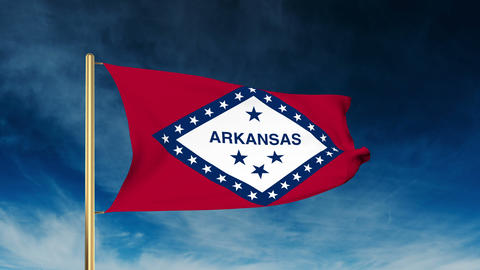 Arkansas flag slider style. Waving in the win with cloud background animation Animation