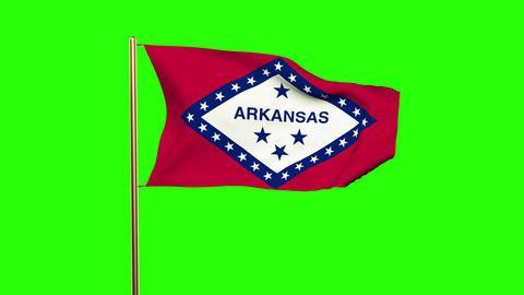Arkansas flag waving in the wind. Green screen, alpha matte. Loopable animation Animation