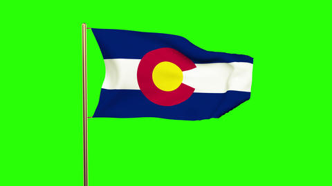 Colorado flag waving in the wind. Green screen, alpha matte. Loopable animation Animation