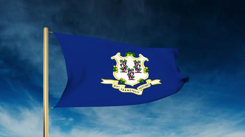 Connecticut flag slider style. Waving in the win with cloud background animation Animation