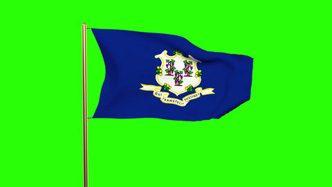 Connecticut flag waving in the wind. Green screen, alpha matte. Loopable animati Animation