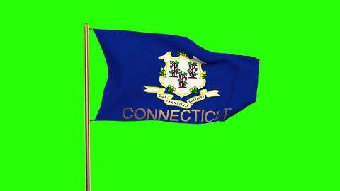 Connecticut flag with title waving in the wind. Looping sun rises style. Animati Animation