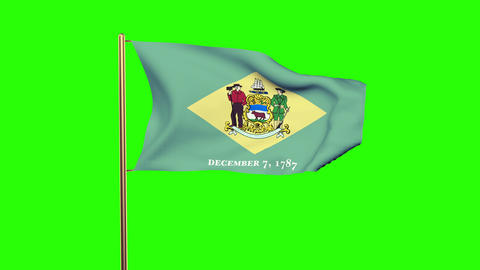 Delaware flag waving in the wind. Green screen, alpha matte. Loopable animation Animation