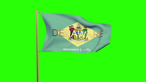Delaware flag with title waving in the wind. Looping sun rises style. Animation  Animation