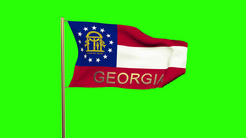 Georgia flag with title waving in the wind. Looping sun rises style. Animation l Animation