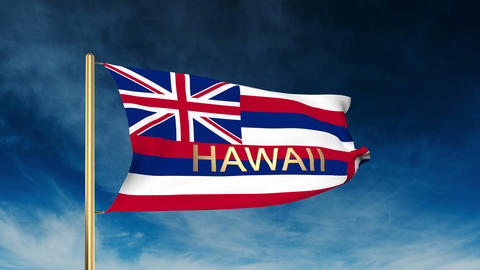 Hawaii flag slider style with title. Waving in the wind with cloud background an Animation