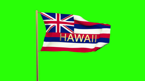 Hawaii flag with title waving in the wind. Looping sun rises style. Animation lo Animation