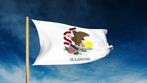 Illinois flag slider style. Waving in the win with cloud background animation Animation