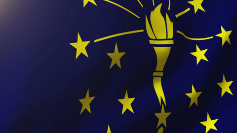 Indiana flag waving in the wind. Looping sun rises style. Animation loop Animation