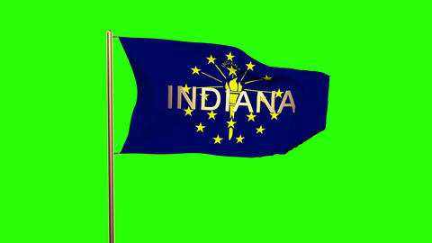 Indiana flag with title waving in the wind. Looping sun rises style. Animation l Animation
