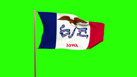 Iowa flag waving in the wind. Green screen, alpha matte. Loopable animation Animation