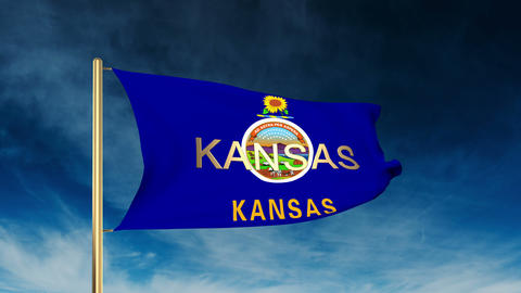 Kansas flag slider style with title. Waving in the wind with cloud background an Animation
