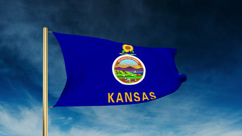 Kansas flag slider style. Waving in the win with cloud background animation Animation