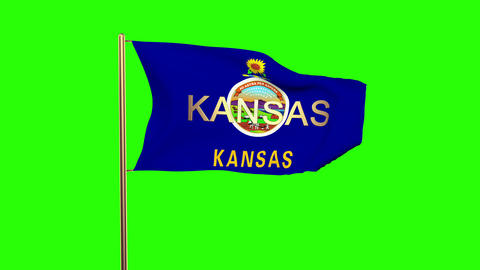 Kansas flag with title waving in the wind. Looping sun rises style. Animation lo Animation