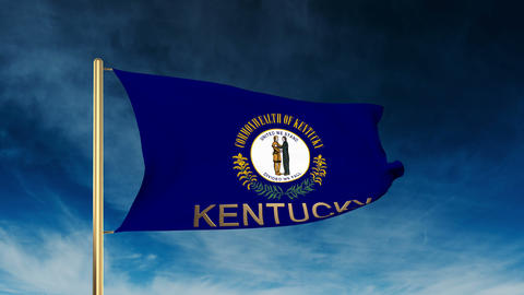 Kentucky flag slider style with title. Waving in the wind with cloud background  Animation