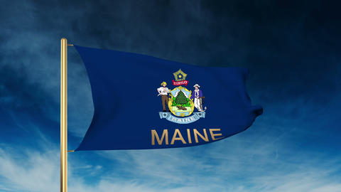 Maine flag slider style with title. Waving in the wind with cloud background ani Animation