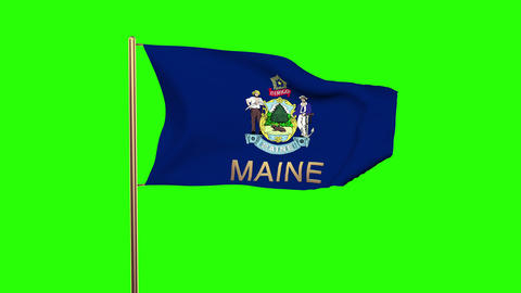 Maine flag with title waving in the wind. Looping sun rises style. Animation loo Animation