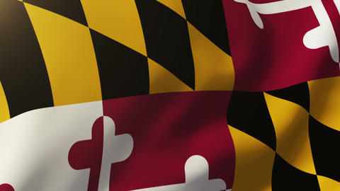 Maryland flag waving in the wind. Looping sun rises style. Animation loop Animation