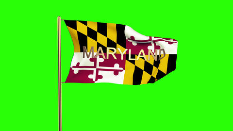 Maryland flag with title waving in the wind. Looping sun rises style. Animation  Animation