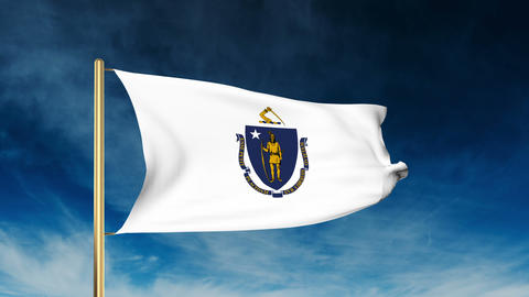 Massachusetts flag slider style. Waving in the win with cloud background animati Animation