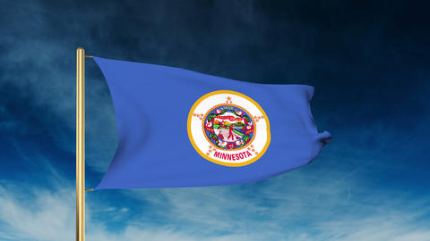 Minnesota flag slider style. Waving in the win with cloud background animation Animation