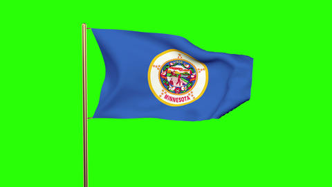 Minnesota flag waving in the wind. Green screen, alpha matte. Loopable animation Animation