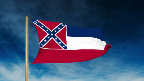 Mississippi flag slider style. Waving in the win with cloud background animation Animation
