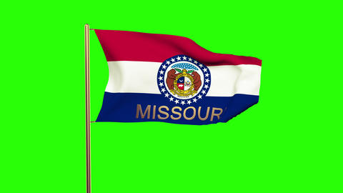 Missouri flag with title waving in the wind. Looping sun rises style. Animation  Animation