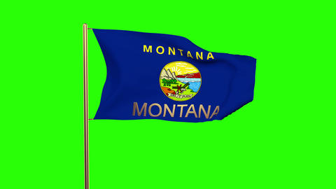 Montana flag with title waving in the wind. Looping sun rises style. Animation l Animation
