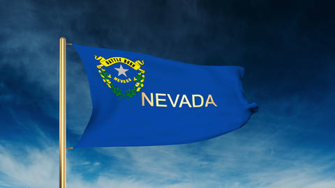 Nevada flag slider style with title. Waving in the wind with cloud background an Animation