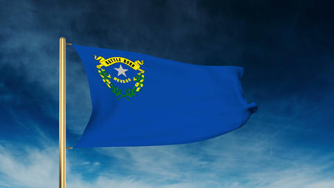 Nevada flag slider style. Waving in the win with cloud background animation Animation