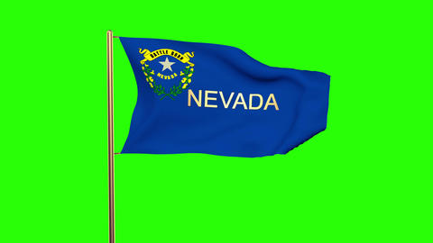 Nevada flag with title waving in the wind. Looping sun rises style. Animation lo Animation
