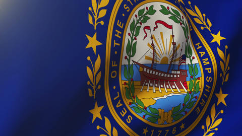 New Hampshire flag waving in the wind. Looping sun rises style. Animation loop Animation