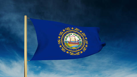 New Hampshire flag slider style. Waving in the win with cloud background animati Animation