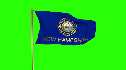 New Hampshire flag with title waving in the wind. Looping sun rises style. Anima Animation