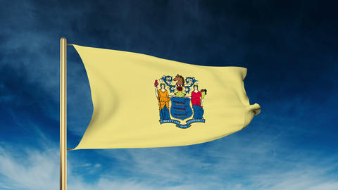 New Jersey flag slider style. Waving in the win with cloud background animation Animation