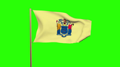 New Jersey flag waving in the wind. Green screen, alpha matte. Loopable animatio Animation