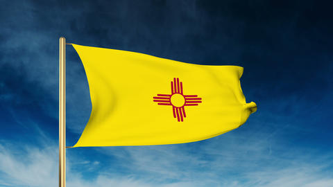 New Mexico flag slider style. Waving in the win with cloud background animation Animation