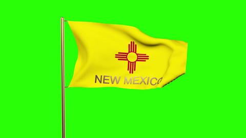 New Mexico flag with title waving in the wind. Looping sun rises style. Animatio Animation