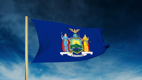 New York Flag Slider Style. Waving In The Win With Cloud Background Animation stock footage