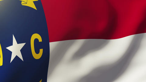 North Carolina flag waving in the wind. Looping sun rises style. Animation loop Animation