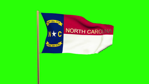 North Carolina flag with title waving in the wind. Looping sun rises style. Anim Animation