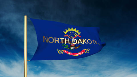 North Dakota flag slider style with title. Waving in the wind with cloud backgro Animation