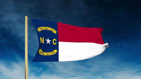 North Carolina flag slider style. Waving in the win with cloud background animat Animation
