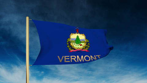 Vermont flag slider style with title. Waving in the wind with cloud background a Animation